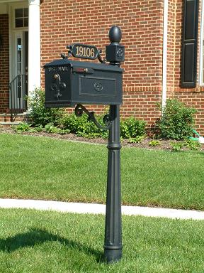 cast aluminum post u201csu201d scroll bracket cast aluminum decorative mailbox with address plaque - Decorative Mailboxes
